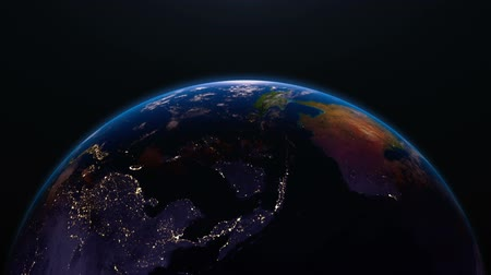 north vietnam : Earth view from space with night city lights. Oceania and Asia.  Stunning view of earth from space. Cities are visible on the night side. Oceania and Asia. Stock Footage