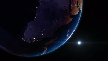 yörünge : Earth view from space with night city lights. Africa.  Stunning view of earth from space. Cities are visible on the night side. Africa.