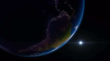 paisagem urbana : Earth view from space with night city lights. South America.  Stunning view of earth from space. Cities are visible on the night side. South America. Vídeos