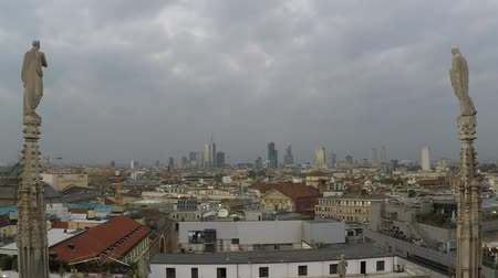 terra : Milan city skyline view from Duomo roof terrace