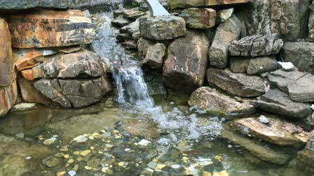 суеверие : Current clear water stream between stones, or mini-waterfall, which falls into a pond with small coins on the bottom. On a sunny day. Стоковые видеозаписи