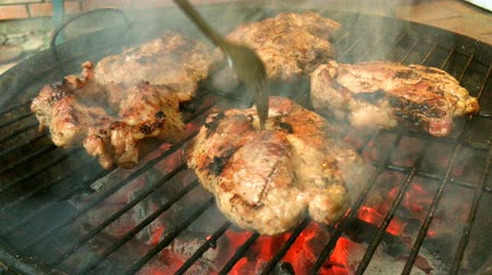 mariníroz : Tasty juicy meat is fried on a grill on a barbecue in the backyard.