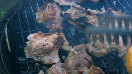 candida : Chunks of sliced meat steaks are grilled over coals and turned over. Stock Footage