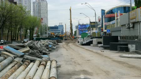 kijev : Kiev, Ukraine, April 2019: - Construction of a new Shuliavsky bridge in Kiev, Ukraine. Building pavement of the bridge and dismantling of old infrastructure. Construction site overall plan.