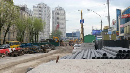 renovar : Kiev, Ukraine, April 2019: - Construction of a new Shuliavsky bridge in Kiev, Ukraine. Building pavement of the bridge and dismantling of old infrastructure. Construction site overall plan.