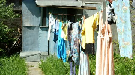 szárítókötél : Home work. Washed casual clothes and underwear, hanging on the floor in a village. Stock mozgókép