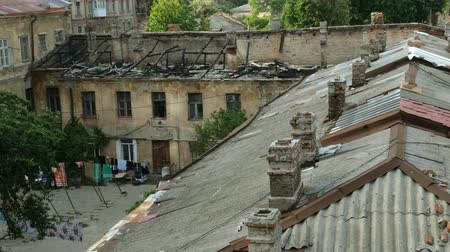 after fire : It was destroyed in the city of Odessa. Bad living conditions. Housing poor people. Close-up. Stock Footage
