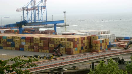 перевозка груза : Sea port port in Ukraine. Logistic freight center. Стоковые видеозаписи
