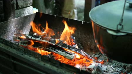 hot pot : Sacking over firewood and coals, Outdoors Close-up.