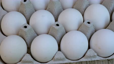 casca de ovo : White chicken eggs are fresh, stacked in cardboard packaging. Food background. Close-up.