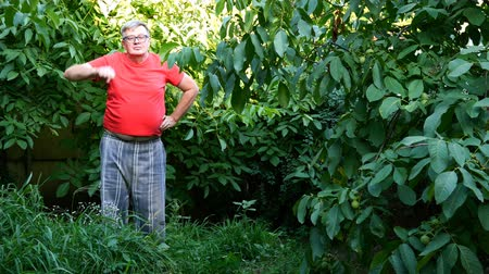 nem emberek : Senior man in casual clothes, perhaps a pensioner, doing squats in the backyard or in the garden. Use as a concept healthy lifestyle for middle-aged people.