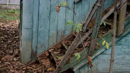 handrails : Abandoned, ruined old wooden house. Staircase and doors. Strewn with withered leaves with weathered paint. Close-up. Outdoors.