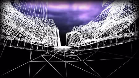 путешествие : Wireframe Road. Journey through a wire city  Стоковые видеозаписи