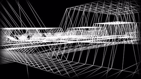 architektura : Wireframe Road. Journey through a wire city  Wideo