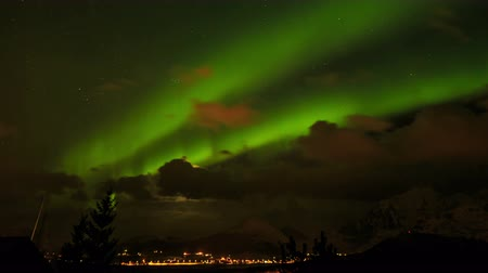 norvégia : Northern Lights in Norway Stock mozgókép