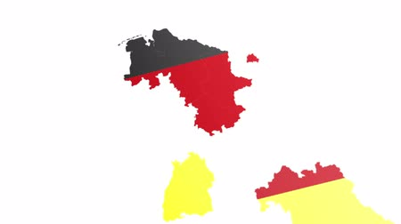 schleswig : shapes of states flying in to create a full map of germany with flag