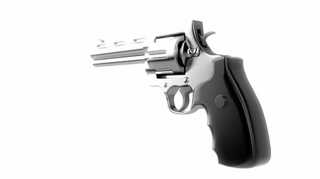 isolar : Revolvers on white background, repeatly loop Stock Footage
