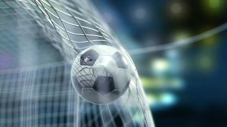 jogador de futebol : football is slowly flying in the goal against night sky background, 3d animation Stock Footage