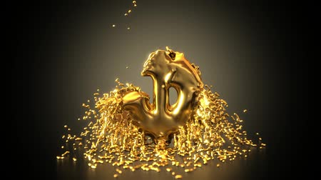 tesouro : Animated gold droplet converts to dollar sign