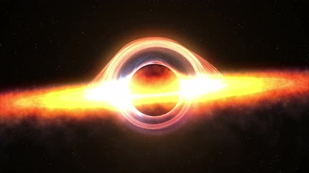 relativity : Black hole attracting space matter. 4k video 3d rendering