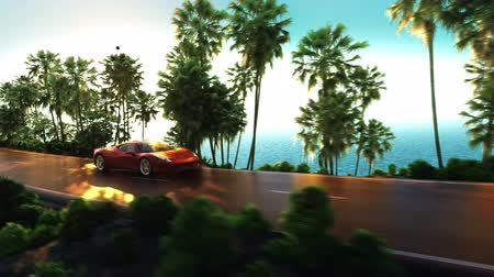vacation : car palms vacation Stock Footage