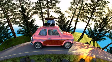 uliczki : Family on their way to summer holiday 4k animation 3d render Wideo