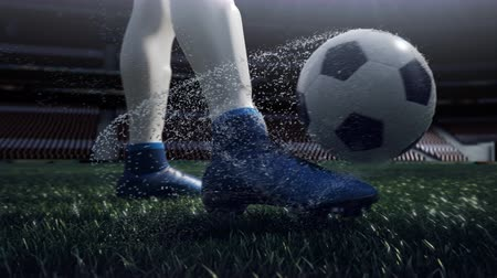 jogadores : close up view of soccer ball and player leg. shooting to the goal in slow motion Vídeos
