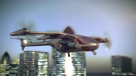 Flying Taxy Drone Going Through the City. 4k 3d animation Stok Video