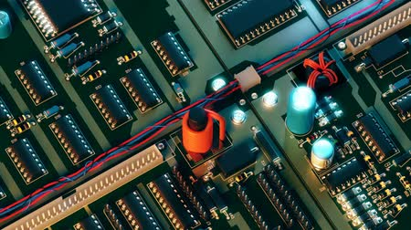 chip and pin : motherboard close up view, camera moves near 4k animation Stock Footage
