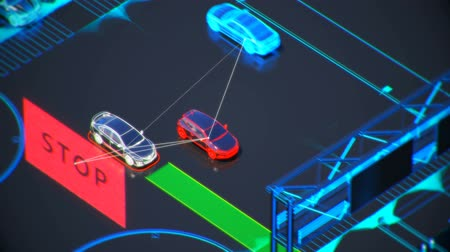 autonome transportation system concept, smart city, Internet of things, vehicle to vehicle, vehicle to infrastructure, vehicle to pedestrian, abstract image visual 4k 3d animation Stok Video