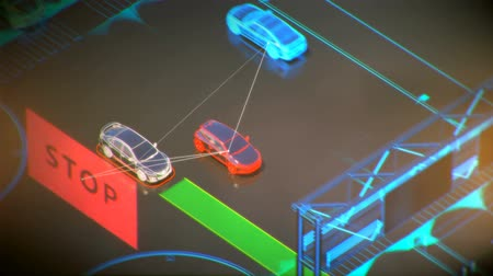 self driving : autonome transportation system concept, smart city, Internet of things, vehicle to vehicle, vehicle to infrastructure, vehicle to pedestrian, abstract image visual 4k 3d animation Stock Footage