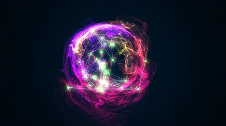 abstract energy ball rotating on black background