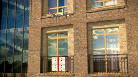 quad hd : Dron delivers a package against an office building, 3d, animation, 4K