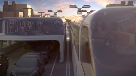 стручок : Urban transport of the future. View of the sunset. 3d animation. 4k
