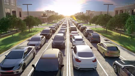 Traffic Jam at Rush Hour at Sunrise or Sunset. 3d animation. 4k