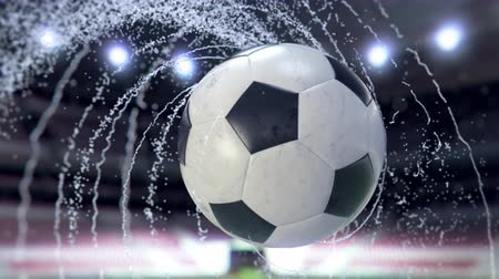 penas : Soccer ball flies emitting whirl of water drops, 4k 3d animation