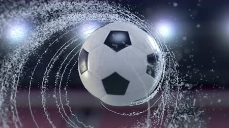 Soccer ball flies emitting whirl of water drops, 4k 3d animation