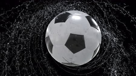 Soccer ball emitting whirl of water drops, with rgb mask, 4k 3d animation Stok Video