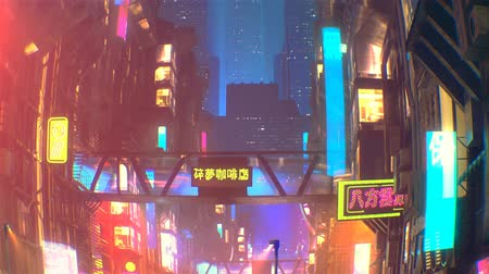 Sci fi futuristic city at night with aerial city traffic and peoples Stok Video