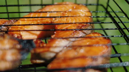 Golden trout baked steaks frying at charcoal grill. Salmon red fish on barbecue, smoke through grill, slow motion, close up
