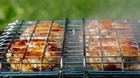 Golden delicious chicken pieces frying in the grate on barbecue grill. Prepare tasty and marinated fresh meat on charcoal bbq grill. Outdoor summer party ideas.