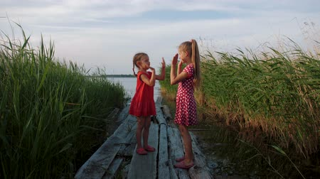 Two little cute girls playing patty cake game, having fun on wooden boards by the lake. Two children playing a clapping hands game. Slow motion.