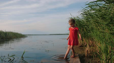 dips : Caucasian cute little girl in a red dress stands on old wooden pier by the lake and dips her feet in the water. Happy young child dip her feet in water and relaxes. Childhood, freedom.