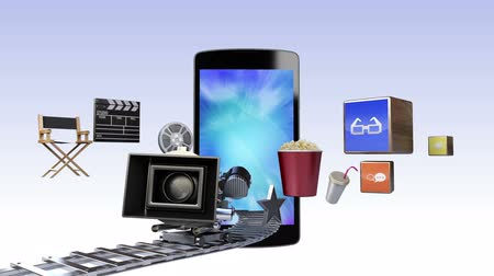 film şeridi : Smart Phone, contents for entertainment and movie concept (included Alpha)