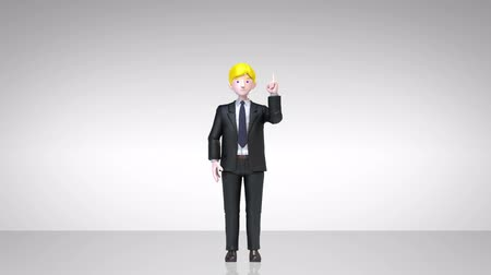 zdůraznit : businessman character showing presentation, gesture pointing.1 (included alpha)