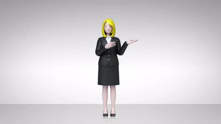 zdůraznit : businesswoman showing character presentation, pointing gesture 1 (included alpha) Dostupné videozáznamy
