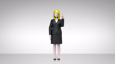 zdůraznit : businesswoman showing character presentation, pointing gesture 2 (included alpha)