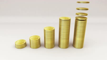 good luck coins : Pile up Golden coins expressed growth profits (included Alpha) Stock Footage