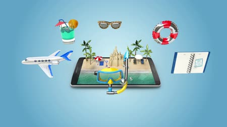 infografik : Planing travel to summer vacation, Mobile access online tour (included alpha)
