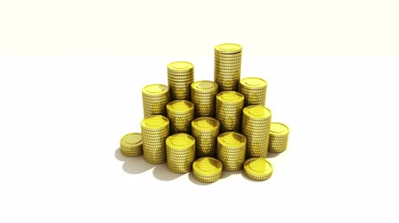good luck coins : Pile up Golden coins and bar, expressed growth profits 2 (included Alpha) Stock Footage
